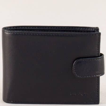 Черен мъжки портфейл със закапчалка от естествена кожа p525ch