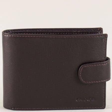 Мъжки портфейл със закапчалка от кафява естествена кожа p525k
