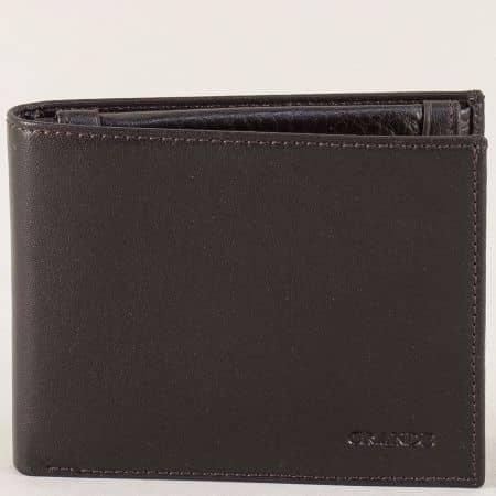 Кожен мъжки портфейл в кафяво с две прегради p530k