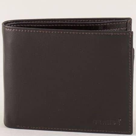 Тъмно кафяв мъжки портфейл с три прегради  p556k