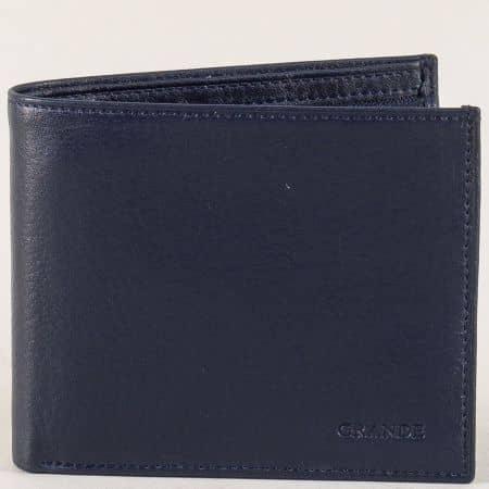 Кожен мъжки портфейл с три прегради в тъмно синьо p556s