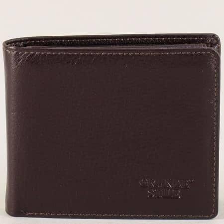 Кожен мъжки портфейл в тъмно кафяво с две прегради  p568k