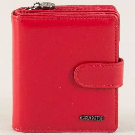Дамски портфейл в червен цвят от естествена кожа  p601chv