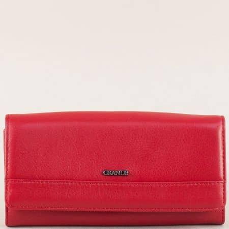 Кожен дамски портфейл с пет прегради в червен цвят p615chv