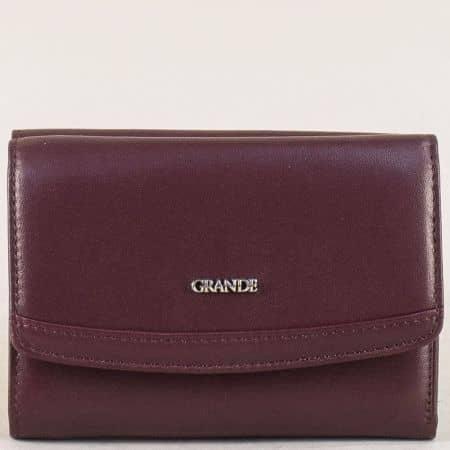 Кожен дамски портфейл с две прегради в цвят бордо p620bd