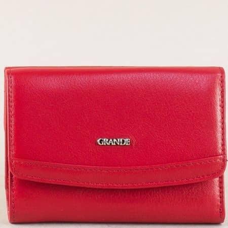 Кожен дамски портфейл в червен цвят с две прегради  p620chv