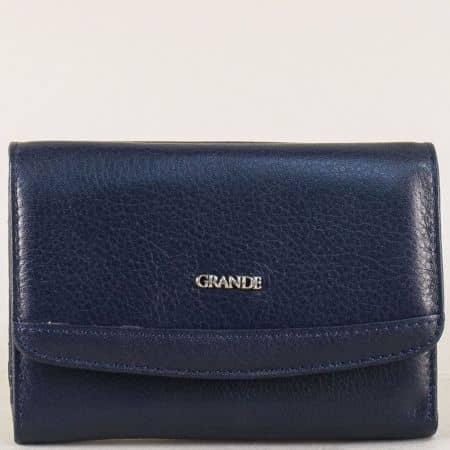 Кожен дамски портфейл в тъмно син цвят p620s