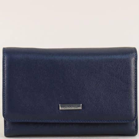 Дамски портфейл от естествена кожа в син цвят p628s