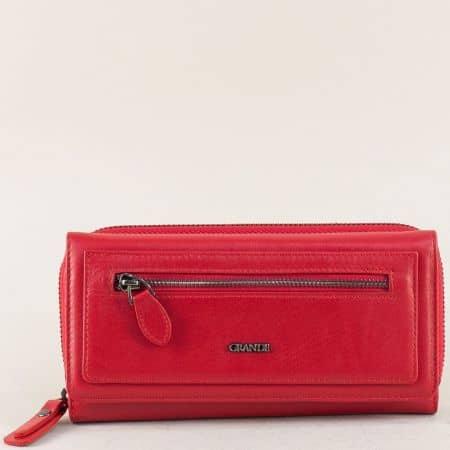 Кожен дамски портфейл с две прегради в червен цвят p636chv
