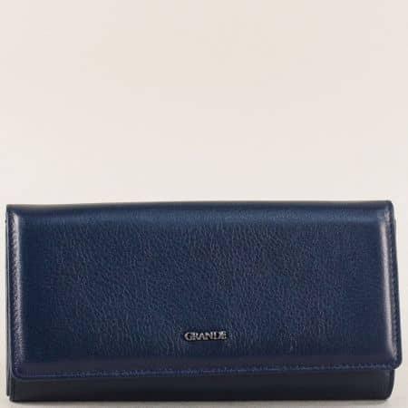 Кожен дамски портфейл с четири прегради в син цвят p664s