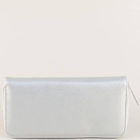 Сребрист дамски портфейл с два ципа p9992sv