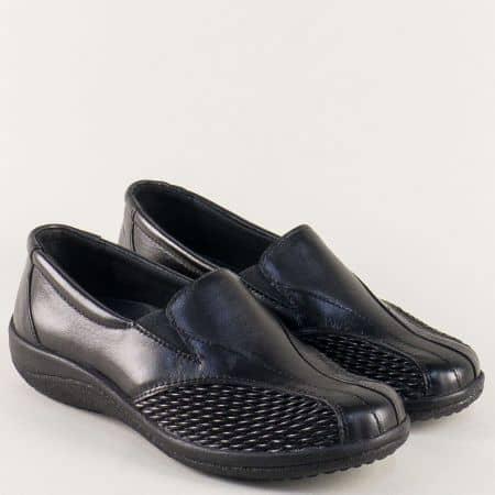 Дамски обувки с два ластика от черна естествена кожа paola01ch