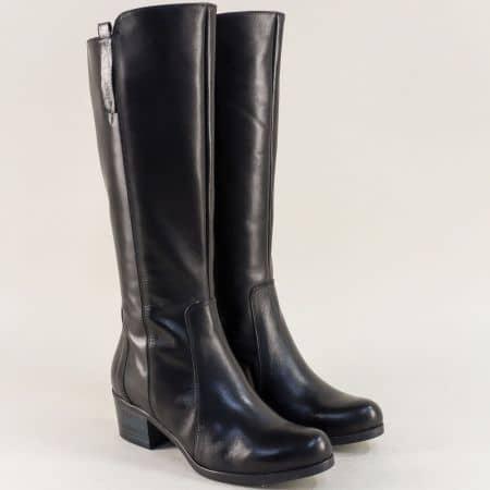 Дамски ботуши на среден ток от естествена кожа в черно radler94ch