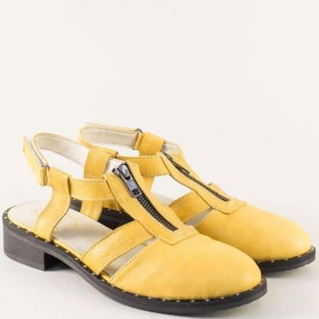 Жълти дамски сандали със затворени пръсти и цип regina2j
