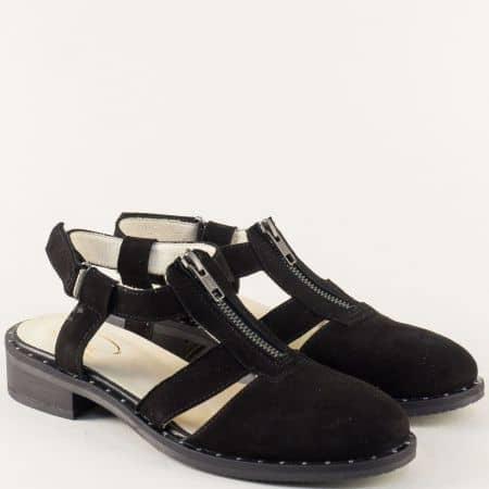 Дамски сандали в черен цвят с кожена стелка и цип regina2vch