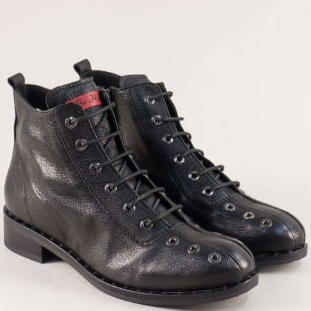 Черни дамски боти  на нисък ток от естествена кожа regina91ch
