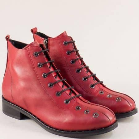 Червени дамски боти  на нисък ток от естествена кожа regina91chv