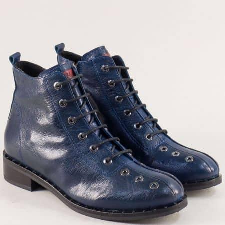 Сини дамски боти  на нисък ток от естествена кожа regina91s