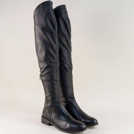 Черни дамски ботуши тип чизми от 100% естествена кожа regina976ch