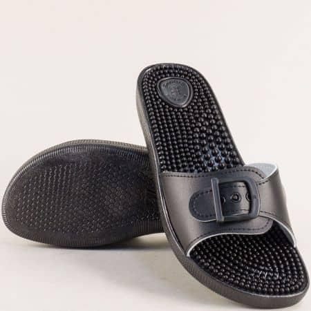 Дамски чехли в черен цвят с масажиращо ходило от Италия s031ch