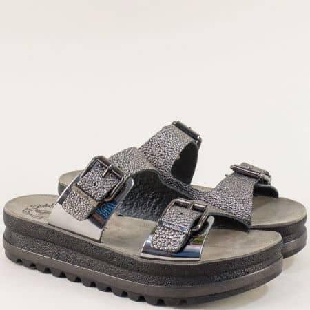 Дамски гръцки чехли от естествена кожа в бронз  s102brz
