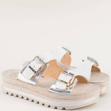 Сребърни гръцки дамски чехли на платформа от кожа s102sr1