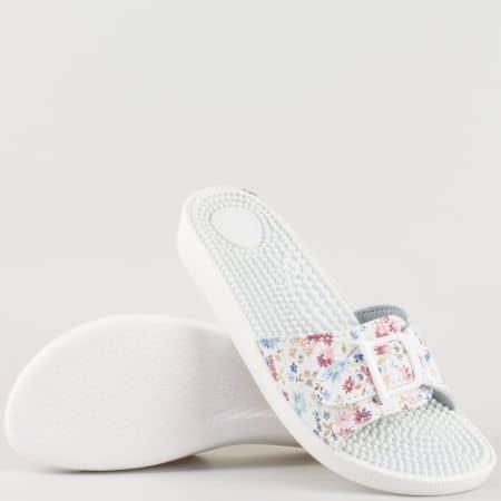 Пъстри дамски чехли на масажиращо комфортно ходило с бодлички- български производител s114bps