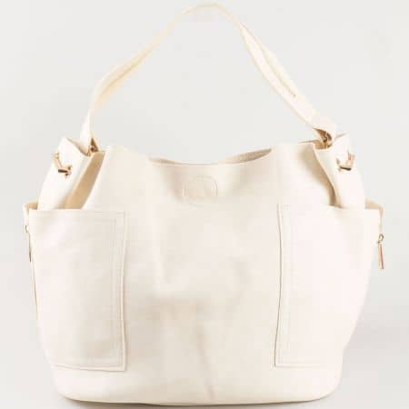 Ежедневна бежова дамска чанта тип торба от еко кожа s1197bj