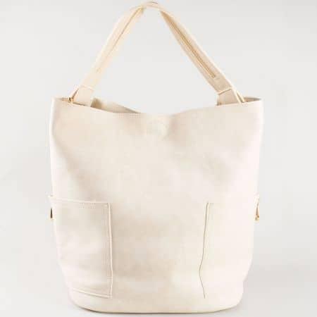 Ежедневна дамска чанта в бежов цвят, тип торба с къса и дълга дръжка, подвижен органайзер и два външни джоба- български производител s1198bj