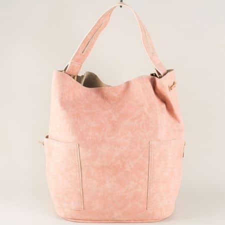 Розова дамска чанта с органайзер, къса и дълга дръжка s1198nrz