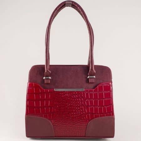 Елегантна дамска чанта в бордос две къси и допълнителна дълга дръжка s1206krbd