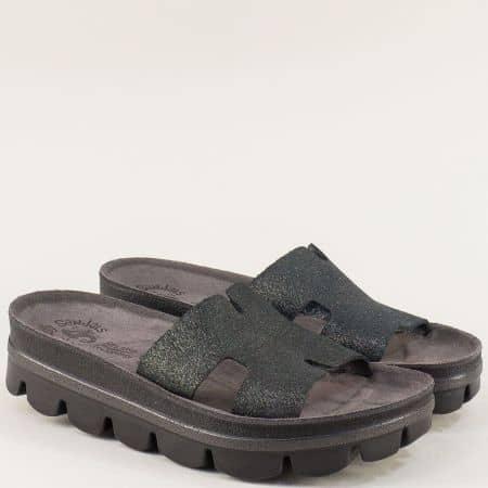 Гръцки дамски чехли на платформа от естествена кожа s206ch