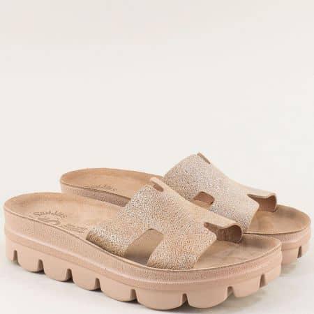 Кожени дамски чехли на платформа в кафяво- FANTASY SANDALS s206k