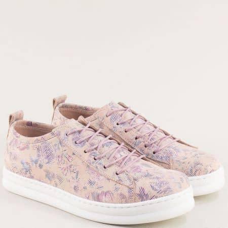 Спортни дамски обувки от естествена кожа отвън и отвътре в розово s23rzps