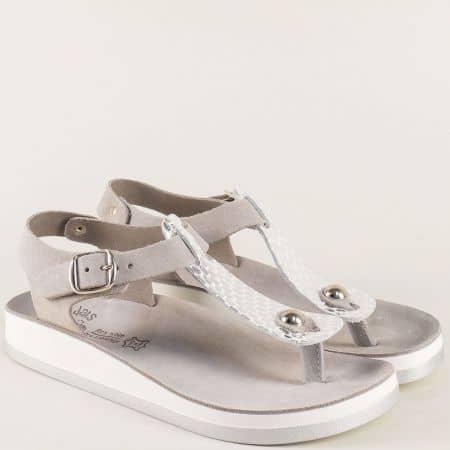 Сиви дамски сандали от естествена кожа на гръцки производител s3001sv