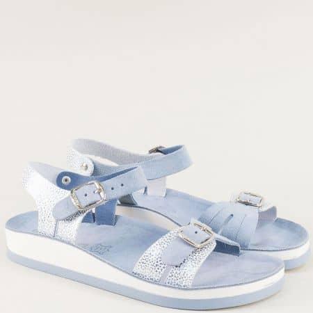 Гръцки сандали в пастелен син цвят от естествена кожа s3005s