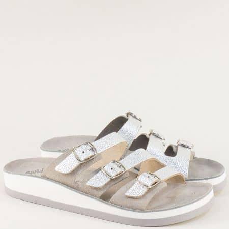 Сребристи дамски чехли със система Flex Sole от естествена кожа s3008sr