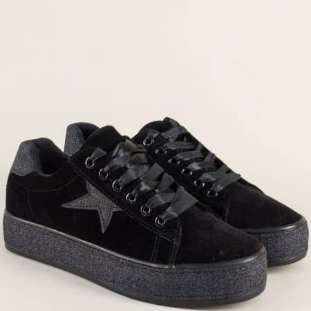Спортни дамски обувки в черен цвят на комфортно ходило s3246vch