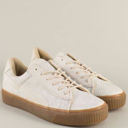 Спортни дамски обувки на равно ходило в бежов цвят s3995bj