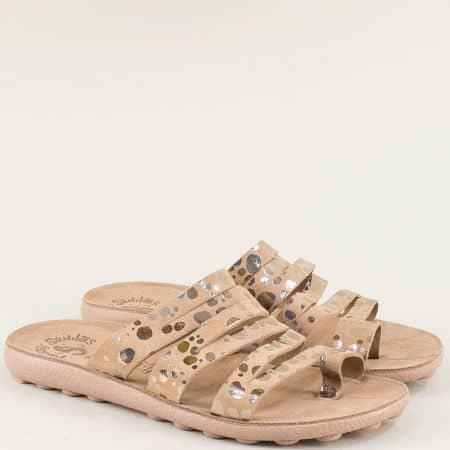Ефектни дамски чехли на анатомично ходило от естествена кожа s400k