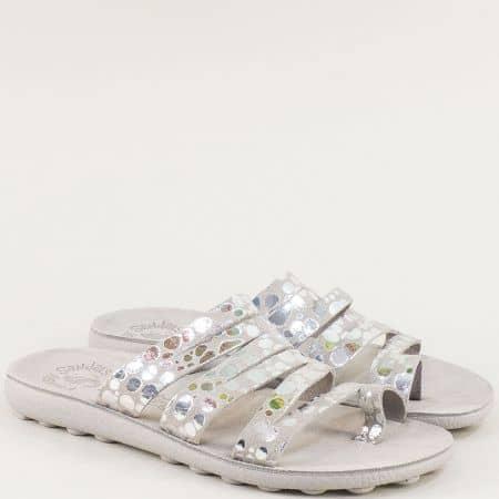 Кожени дамски чехли на равно ходило в сив цвят s400sv