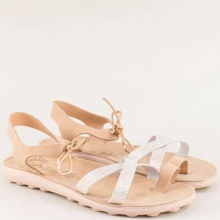 Гръцки розови дамски сандали от естествена кожа s401rz