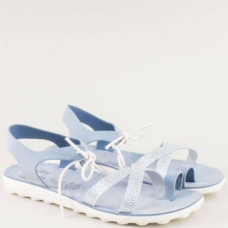 Гръцки светло сини дамски сандали от кожа с Flex Sole s401s