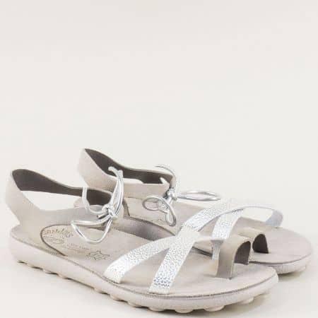 Сиви дамски сандали от естествена кожа с Flex Sole s401sv