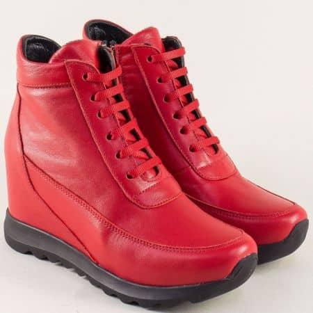 Червени дамски боти от естествена кожа на платформа s50chv