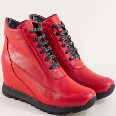 Червени дамски боти от естествена кожа s50chv1