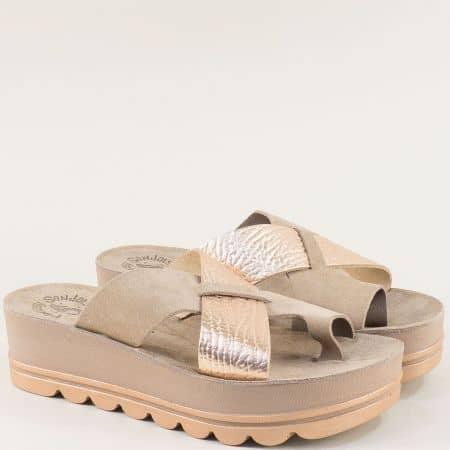 Дамски розови чехли от естествена кожа на гръцки производител s6005rz