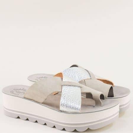 Гръцки дамски чехли на платформа от естествена кожа в сиво s6005sv