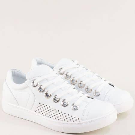 Бели дамски обувки от кожа на гъвкаво и меко ходило s72b