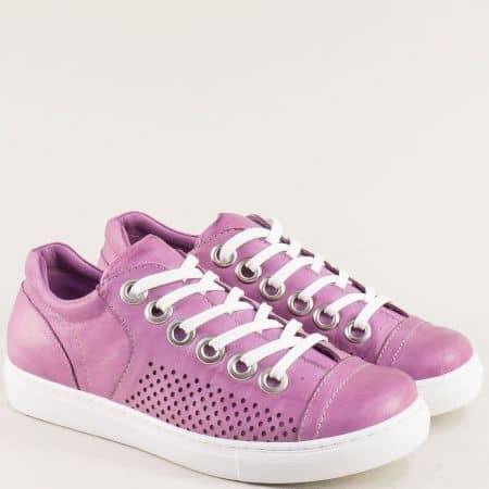 Дамски спортни обувки от естествена кожа в лилаво и стелка от естествена кожа s72l